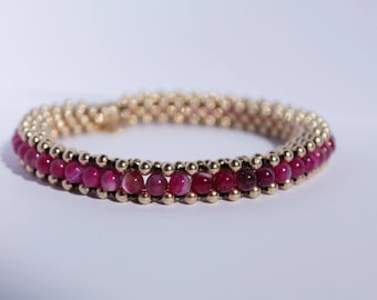 Pink Agate gold filled beaded bracelet