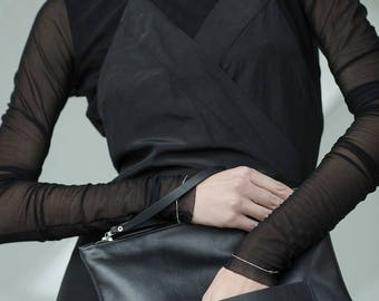 Leather clutch, black leather clutch, oversized clutch, big clutch, large clutch, black clutch