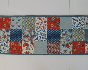 "Quilted Table Runner, Blue Patchwork Quilted Table Runner, 12 1/4"" X 36"""