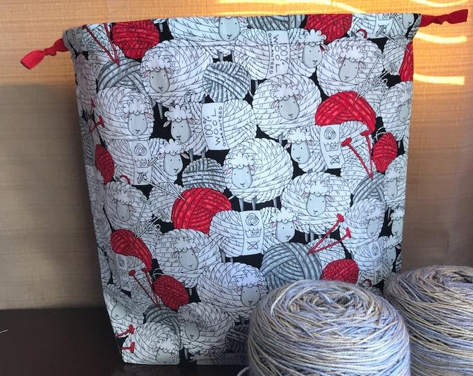 Sheep Yarn Balls Large Drawstring Project bag