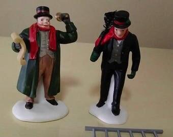 On Sale, Department 56, Town Crier & Chimney Sweep, Porcelain, Heritage Village Figures, #5569-7, Vintage NEW, Original Packaging, Dept 56