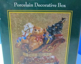 NEW Traditions Porcelain Hinged Decorative Box Christmas Teddy Bear in Sled w Toys