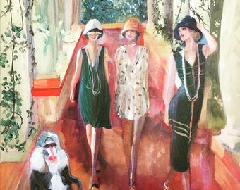 Oil on canvas painting, original painting, nature retro Womens fashion dresses green mandrille red ground