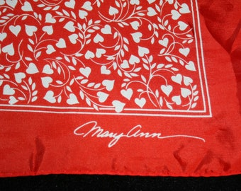 Womens Scarf Wrap Vtg 1978 Hallmark Bright Red Heart Valentines Day Mary Ann