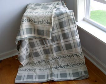 Grey and white Plaid Vintage Beacon or Camp Blanket