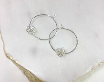 Silver Knot Hoop Earrings