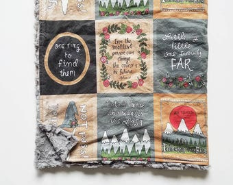 Lord of the Rings *Girly* Book Blanket // JRR Tolkien Throw Blanket