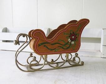 "Vintage Santa's Sleigh- Wood Christmas Sleigh 8"" x 5 1/2"""
