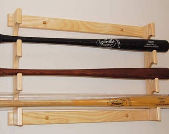 Three bat horizontal baseball bat display rack in clear lacquer finish
