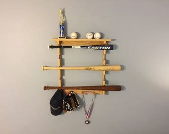 Little league baseball bat rack or softball bat rack with ball shelf holds 5 bats and 7 balls