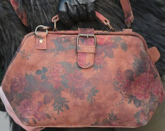 Doctor Small Dark Suede Floral Frame Bag with Waterproof lining and simple pocketed interior