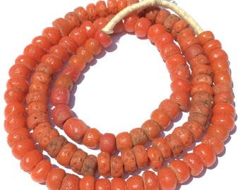 Antique African Nigerian old red coral glass African trade beads
