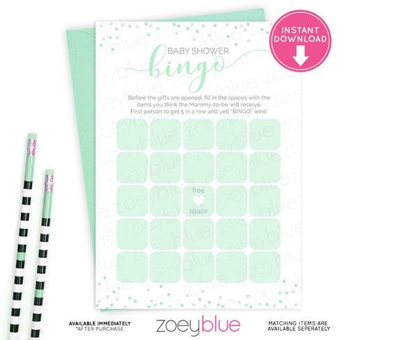 Baby Shower Bingo Card Mint Green Blank Bingo Card Baby Shower