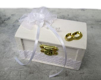 Ring box wood wedding ring box white wedding wooden Cascet, wedding rings, wedding ceremony ring support cushions