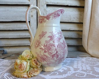 Antique french dark rose transferware large washing pitcher. Dark pink transferware vase Red transferware Jeanne d'arc living French Nordic