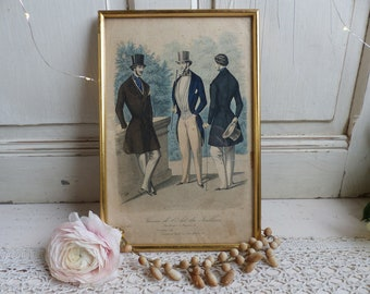 Antique french mens fashion plates. Mens fashion early to mid 19th century costume. Dandy style. Paris fashion magazine pages.