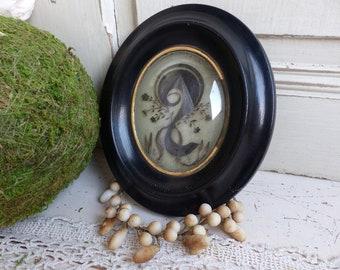 Antique french mourning hair art frame. Small Antique mourning hair art. Monogram initials CG. Mourning souvenir. Momento mori. Mortuary art