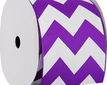 "Grosgrain Chevron Ribbon 2 1/4"" - 5 Yards - Purple"