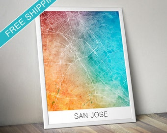 San Jose Map Print - Map Art Poster with Watercolor Background