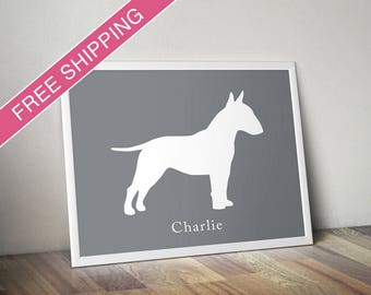 Personalized Bull Terrier Silhouette Print with Custom Name - dog poster, dog art, dog gift, dog home decor