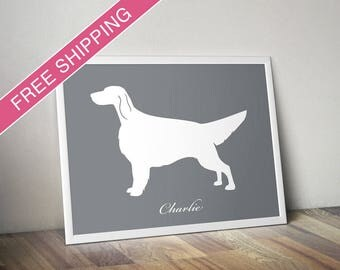 Personalized English Setter Silhouette Print with Custom Name - dog art, dog gift, dog poster
