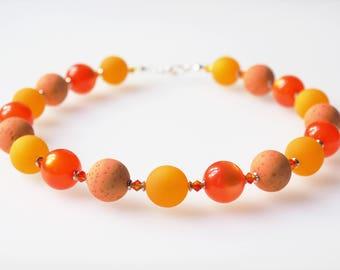 orange necklace with big pearls statement polaris necklace with Swarovski® Kristallen