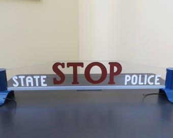 Vintage Michigan State Police Hood Hailer Stop Sign Light - Free Shipping