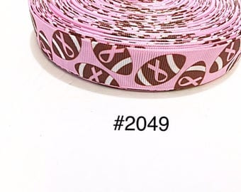 """3 or 5 yard - 7/8"""" Breast Cancer Awareness with Football on Pink Grosgrain Ribbon Hair bow"""