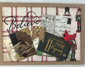 Christmas Card ~Holiday Card ~Believe ~ Handmade Card ~Vintage Collage Card ~Vintage-Inspired Card ~Vintage Photograph ~Dog Card ~Child Card