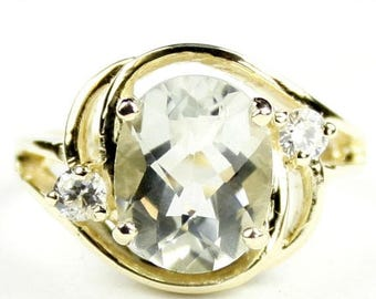 On Sale, 30% Off, Green Amethyst (Prasiolite), 14KY Gold Ring, R021