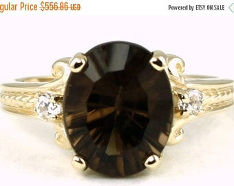 On Sale, 30% Off, Smoky Quartz, 14KY Gold Ring, R136