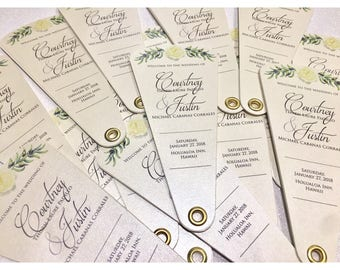 Olive Branch Wedding Programs, Unique Wedding Programs • 3 Petals Without Ribbon Detail ~ 107lb Metallic or 110lb Matte Cardstock