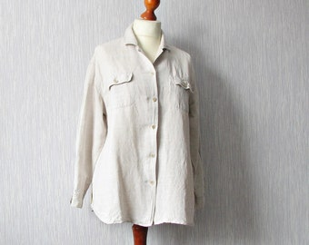 Vintage Cream Linen Blouse Shirt Oversized  Size Large  Plus
