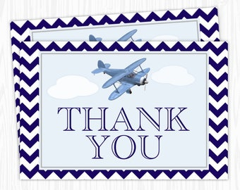 Aviation Thank You Card, 4x6 Printable, Airplane Thank You - Birthday, Bridal Shower, or Baby Shower, YOU print, you cut, INSTANT DOWNLOAD