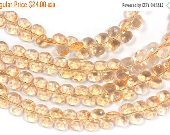 40%DIS AAA 7 Inch 6mm Gold Topaz Coloured Quartz Faceted Heart Briolette Beads Strand 45 Beads(4826-27)