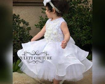 Baptism Dress - Mini Bride Dress - Flower Girl Dress - Rosette Dress - Big Bow Dress - Wedding Dress - Kalli by Zulettcouture