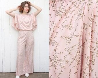 Vintage 70s Jumpsuit | 70s Light Pink Cherry Blossom Print Wide Leg Jumpsuit | Medium M