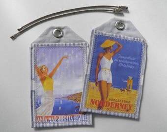 Custom luggage tags, Europe, Canada, set of 2, vintage art, travel posters, ID tags, travel accessory, travel gift, retirement gift, bagtag