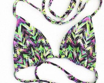 Reversible Triangle Slide Bikini Top in Chevron Candy & Glow Worm w/Chevron Candy Straps Pool Beach Swim Summer UV GLOW Black Light - 154679