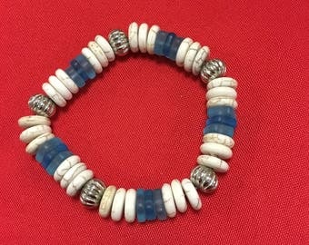 Recycled blue glass beads and howlite stretchy bracelet
