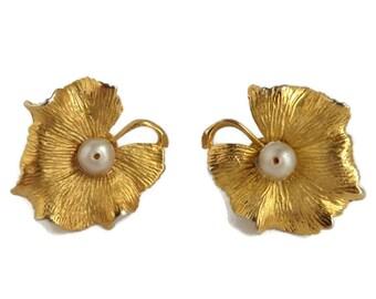 Coro Flower Earrings, Gold Tone Faux Pearl, Vintage Floral Screw Back Earrings
