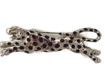 Vintage Leopard Brooch Silver Tone Leopard Pin 1970s Animal Pin Wide Enamel Brooch