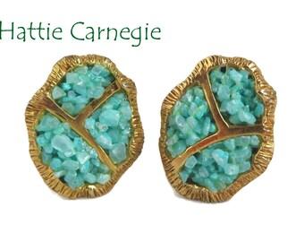 Turquoise Earrings - Vintage Hattie Carnegie Beaded Earrings, Gold Tone Designer Clip-on Earrings, Gift for Her, FREE SHIPPING