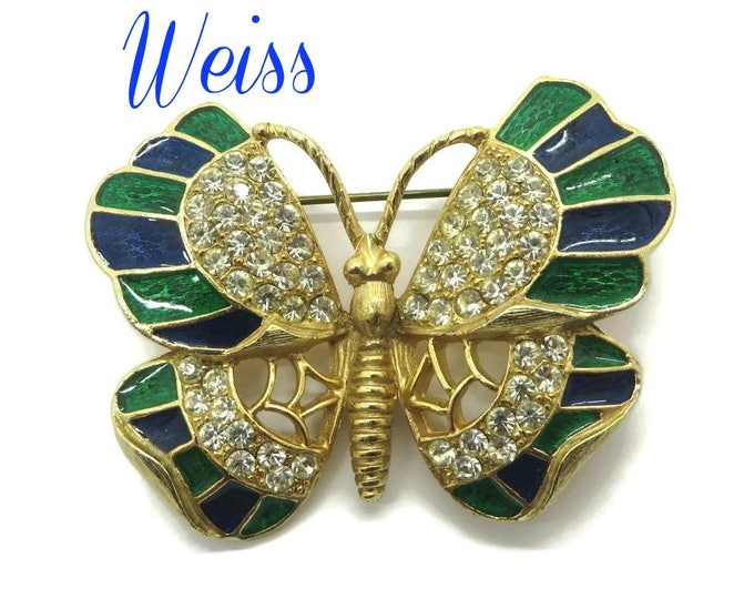 Weiss Butterfly Brooch, Enamel Butterfly Pin, Rhinestone Butterfly Brooch, Signed Weiss Jewelry, Blue and Green Pin, FREE SHIPPING