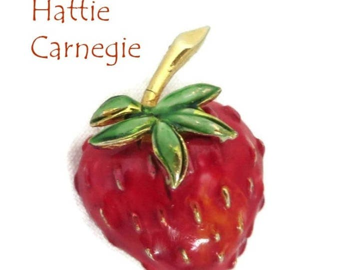 Hattie Carnegie Pin, Vintage Strawberry Pin, Goldtone Enamel Brooch, Signed Carnegie Jewelry, FREE SHIPPING