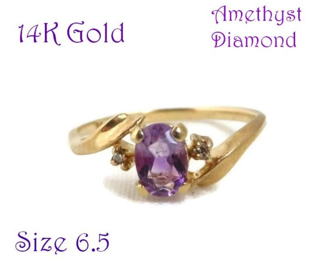 14K Gold Amethyst Ring - Vintage Oval Amethyst & Diamond Accent Ring, Size 6.5, Holiday Gift, Gift Box