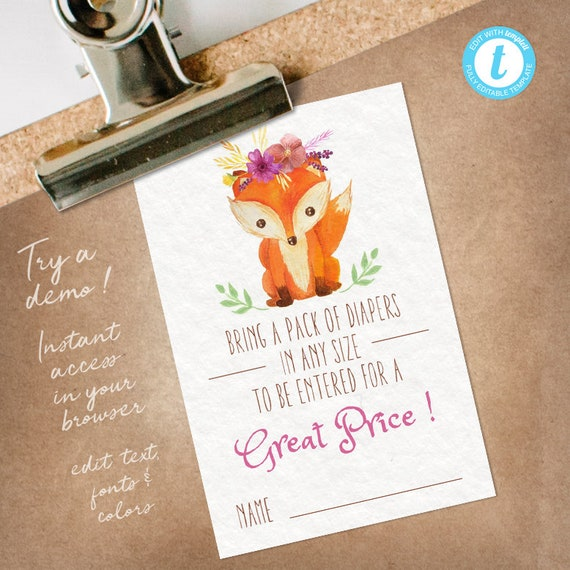 Woodland Diaper Raffle Insert Girl, Woodland Diaper Raffle Tickets, Woodland Diaper Game Card, editable INSTANT DOWNLOAD printable at home
