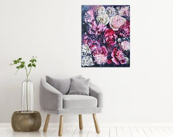 "Peony Painting Pink Art Acrylic Original // ""Mid-Flight"" 24 x 30"" on Canvas"