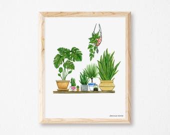 Art print with green plants, illustration by Joannie Houle