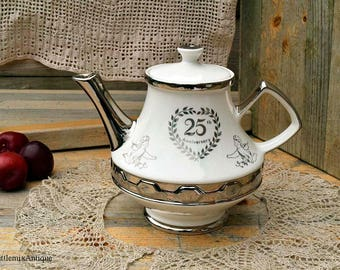 Vintage 25th Anniversary Gibsons Staffordshire England Lustreware Teapot Retro English Chinaware Afternoon Tea Time Retro Anniversary Gift